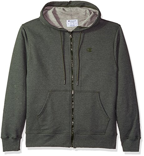 Champion Men's Powerblend Fleece Full-Zip Hoodie, Forest Grove Heather, X Large