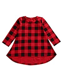 Lovely Baby Kids Girl Dress Plaids Checked Party Princess Formal Dresses Tutu