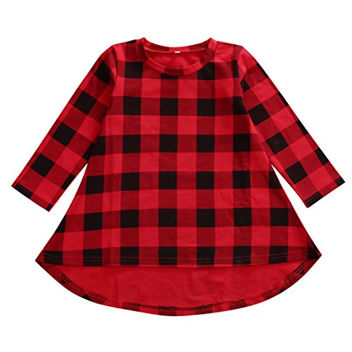 Bamboogrow Lovely Baby Kids Girl Dress Plaids Checked Party Princess Formal Dresses Tutu (2-3Years)