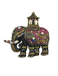 JewelleryClub Men Thiland Elephant Brooch Swarovski Elements Crystal Vintage Brooches Pin for Suit