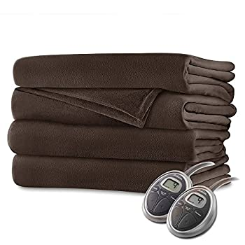 Image of Sunbeam Luxurious Velvet Plush King Heated Blanket with 20 Heat Settings, Auto-Off, 2-Digital Controllers, 5 Yr Warranty - Walnut Brown Home and Kitchen
