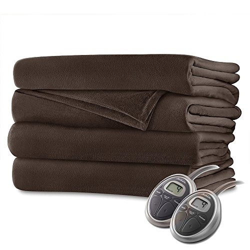 Sunbeam Velvet Plush Queen Heated Blanket with 20 Heat Setti
