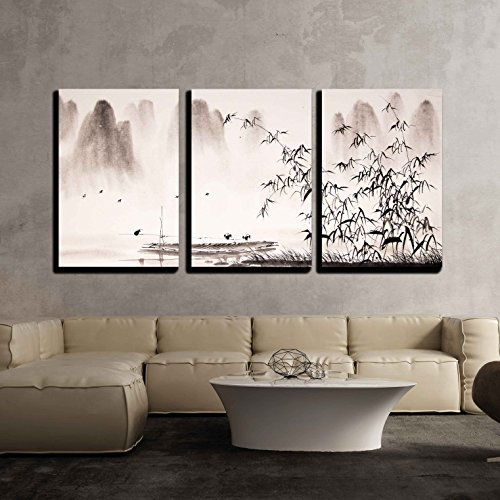 wall26 - 3 Piece Canvas Wall Art - Chinese Landscape Ink Painting - Modern Home Decor Stretched and Framed Ready to Hang - 24''x36''x3 Panels by wall26