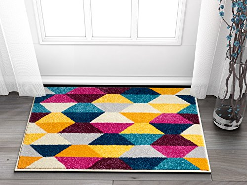 Elise Shapes Fuchsia Purple Blue Yellow Orange Modern Geometric Hand Carved 2' x 3' Area Rug Easy to Clean Stain & Fade Resistant Thick Soft Plush - Hand Loomed Charcoal