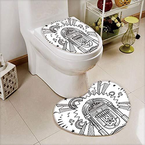iPrint 2 pcs Toilet Cover Set Non-Slip mat Bathroom Non-Slip mat,Sketchy Style Radio Music Notes Box with Stars,3D Print Heart Shape Toilet seat Cushion Customized Fashion -