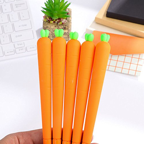 5pcs Cute Cartoon Carrot Ball Point Pen Ballpoint Creative Stationery Student