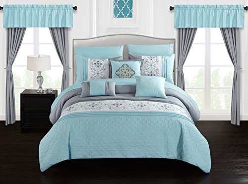 Chic Home Emily 20 Piece Comforter Set Color Block Floral Embroidered Bag Bedding-Sheets Window Treatments Decorative Pillows Shams Included, King, Aqua - Treatments Bedding Window