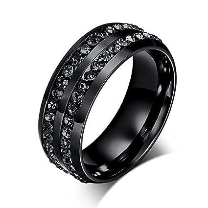 Amazon Com Nongkhai Shop Luxury Black Cz Stainless Steel Ring Men
