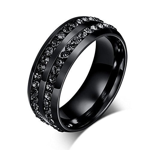 nongkhai tienda Lujo Negro CZ acero inoxidable Anillo Hombres/Mujer Titanio Boda Compromiso de banda