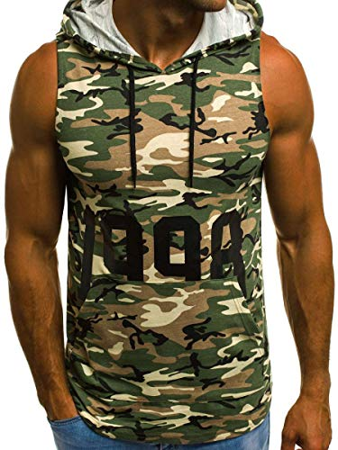 Zoey's DreamHouse Men's Workout Sleeveless Muscle Hooded Shirts Camo Gym Fitness Bodybuilding Tank Tops (Green Camouflage, M(US S)) ()