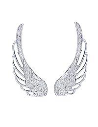 EAR VINES Angel Wings Ear Cuff Pins CZ Crystal Hook Earrings Silver Tone