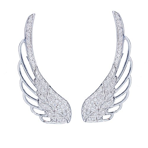 Chicinside Angel Wings Ear Cuff Pins CZ Crystal Hook Earrings Silver Tone (01) (Angel Birthstone Pin Wing)