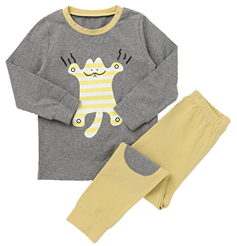 LieLiestar Little Boys Cute Tiger Print Long Sleeve Shirt & Pants Pajamas Set,Yellow 4T by LieLiestar