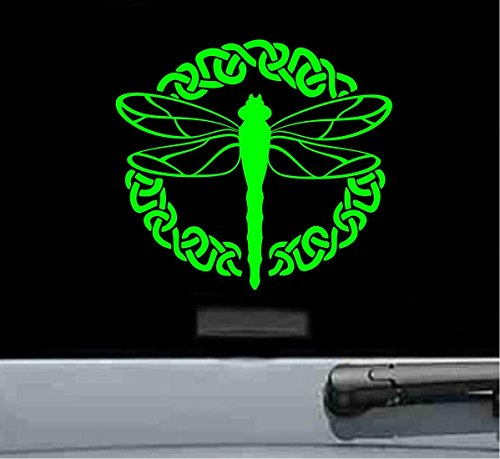 (Cute dragonfly Vinyl Decal Sticker (LIME GREEN))
