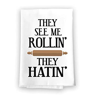 Honey Dew Gifts Funny Kitchen Towels, They See Me Rollin' They Hatin' Flour Sack Towel, 27 inch by 27 inch, 100% Cotton, Highly Absorbent, Multi-Purpose Kitchen Dish Towel