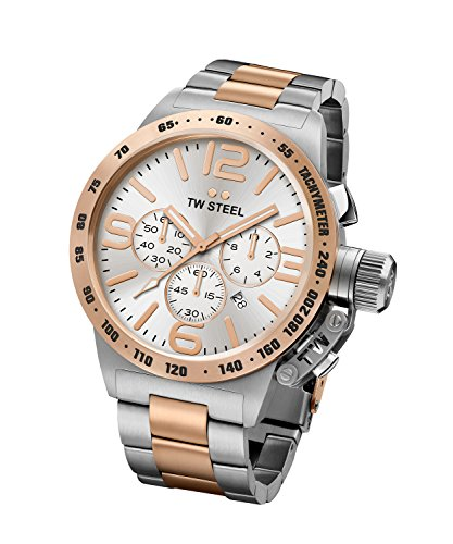 TW Steel CB123 Men's Stainless Canteen Two-Tone Bracelet Band Silver Dial Two-tone Watch