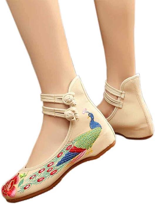GYUANLAI Femmes Style Chinois Motif Floral Brod/é Chaussures en Tissu Couleur Unie Augment/é Double Boucle Danse Chaussures De Compens/ée