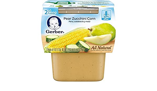 Gerber 2nd Foods Fruits & Vegetables - Pear Zucchini Corn - 4 oz - 2 ct - 8 pk: Amazon.com: Grocery & Gourmet Food