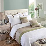 OSVINO Natural Modern Linen Bed End Scarf Runner Protector No Fading Soft, Green, 260X50cm for 200cm Bed