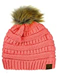 NYFASHION101 Exclusive Soft Stretch Cable Knit Faux Fur Pom Pom Beanie Hat, Coral