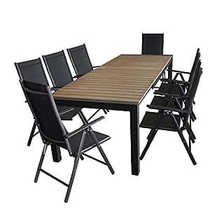 Multistore 2002. Mobiliario de jardín–Mesa de jardín, extensible, 205/275x 100cm, polywood mesa placa en marrón + 8x Respaldo Alto, 2x 2Cordaje, 7posiciones–Negro/de muebles de asiento Grupo Muebles de Jardín muebles de terraza