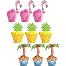 Moon Boat 45 PSC Flamingo / Pineapple / Palm Cupcake Toppers Wrappers - Luau Tropical Hawaiian Pool Party Supplies Cake Decorations