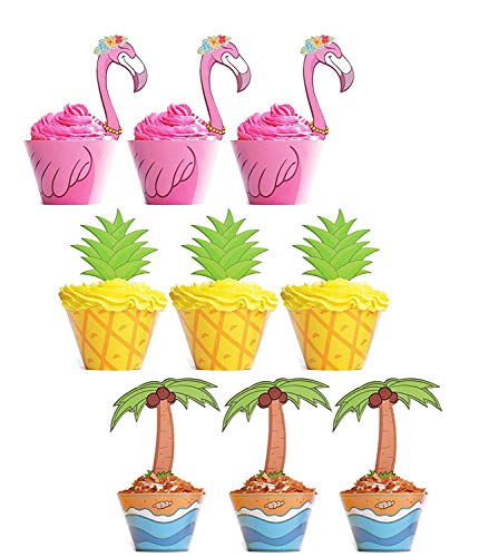 - 45 PCS Flamingo/Pineapple/Palm Cupcake Toppers Wrappers - Luau Tropical Hawaiian Pool Party Supplies Cake Decorations