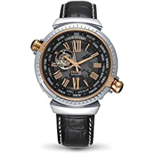 Time100 Men's Automatic Self-Winding Mechanical Watches,with 24 World Time Zones Globe Explore Business Wrist Watch for Men.