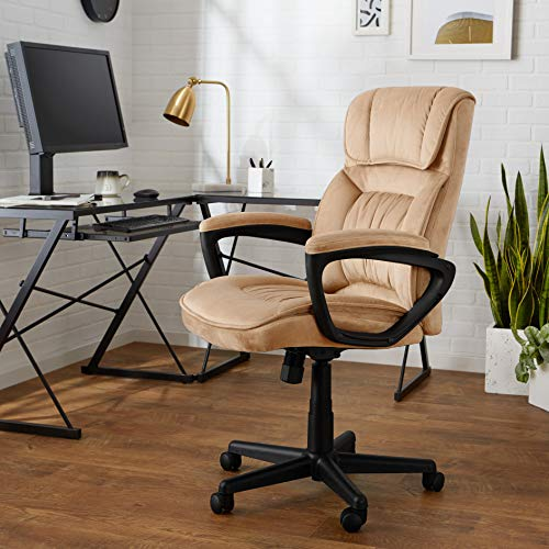 AmazonBasics Classic Office Chair - Adjustable, Swiveling, Microfiber Cover - Light Beige - 2