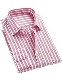 Jeetoo Men's Shirt - 100% Cotton Button Down Long Sleeve Stripe Casual Shirts - Wedding Slim Fit Dress Shirt