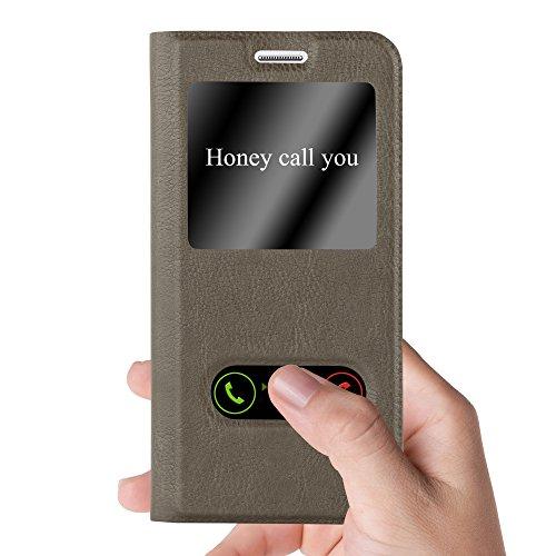 Cadorabo - Funda Book Style de Cuero Sintético en Diseño View para Samsung Galaxy J5 (5) - Modelo 2015 con Imán Invisible, Función de Soporte y Doble Ventana �?Libro Etui Case Cover Carcasa Caja Prote MARRÓN-PIEDRA