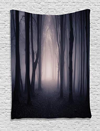 (Ambesonne Dark Tapestry Farm House Decor, Path Through Dark Deep in Forest with Fog Halloween Creepy Twisted Branches Picture, Bedroom Living Room Dorm Wall Hanging Tapestry, Pink)