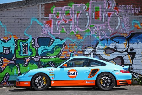"""Porsche 991 Turbo by Cam Shaft (2013) Car Art Poster Print on 10 mil Archival Satin Paper Blue Side Static View 36""""x24"""""""