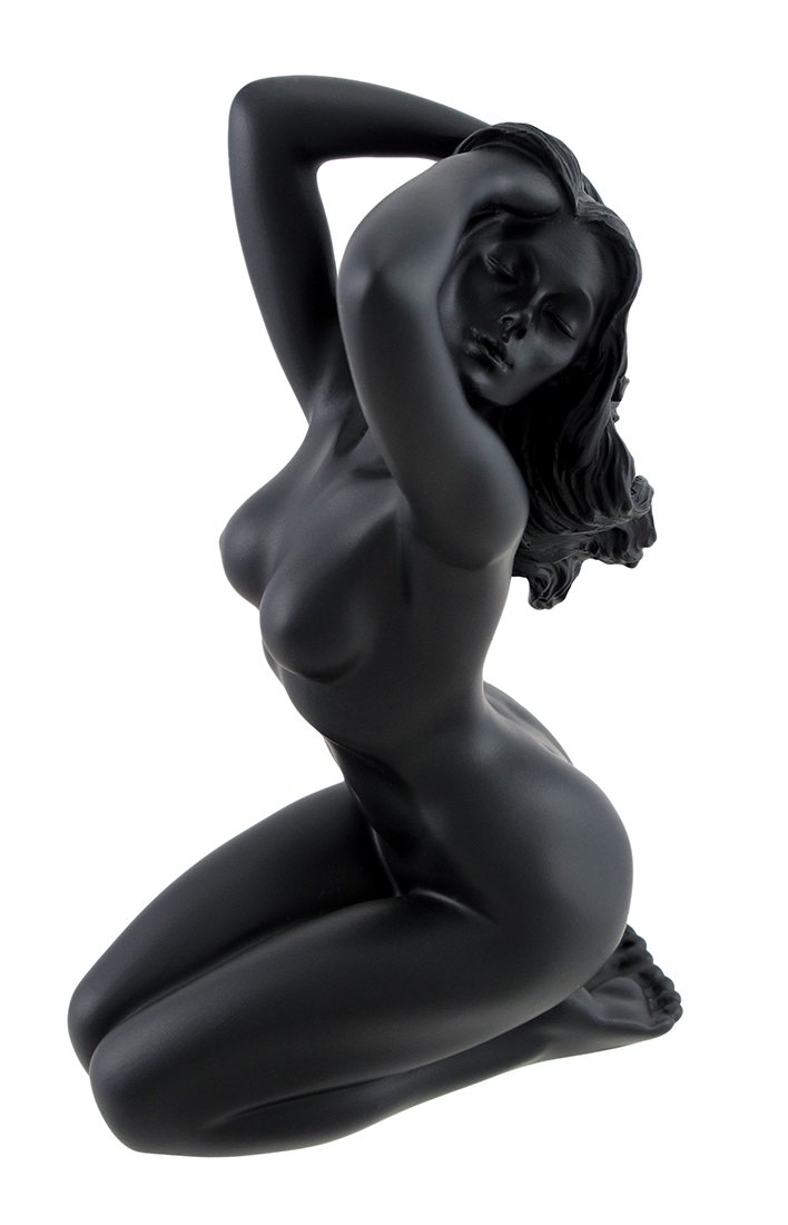 光沢ブラックFemale Nude Kneeling手でヘアStatue Facing Left by things2die4 B00C78I0OG