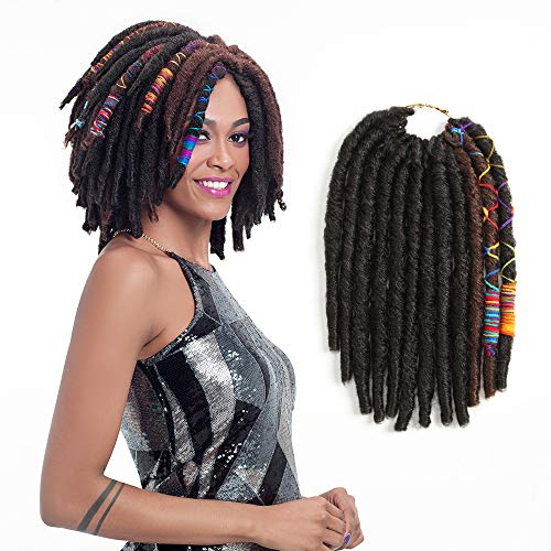 FASHION IDOL 12 Inch Goddess Locs Crochet Hair Pre-looped Faux Locs Crochet Dark Brown & Light Auburn Straight Twist Dreadlocks Kanekalon Crochet Braids Hair Extensions For Black Women (PM2/30)