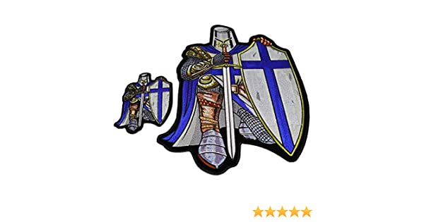 e363c6b3ddb Amazon.com  Blue Crusader Knight Patch Set Small and Large Back Patch -  4.5-12 inches - Embroidered Iron on Patches  Arts