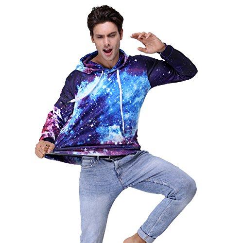 Youvimi Unisex 3d Printed Drawstring Pockets Pullover Hoodie Hooded Sweatshirt, Small / Medium, Glaxy