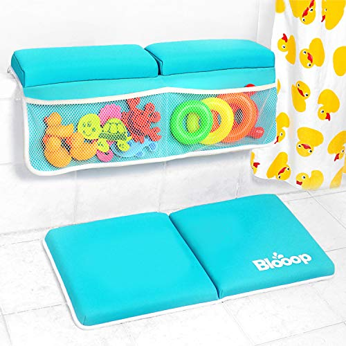 Bath Kneeler with Elbow Rest Pad Set (2-Piece), X-Long, Thick, Knee Cushioned Bathtub Support, Non-Slip Bottom, 4 Caddy Pockets, Blooop Bath Kneeling Pad