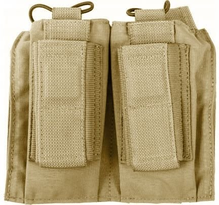 Enhanced Pistol Mag Pouch - Tactical Assault Gear MOLLE Shingle/Pistol Enhanced 2 Mag Pouch Coyote Tan 812209