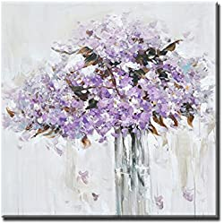 EZON-CH Wall Art Hand Painted Romantic Love Flower Series Oil Painting Stretched and Framed for Home Decor (Purple) 16IN X 16IN