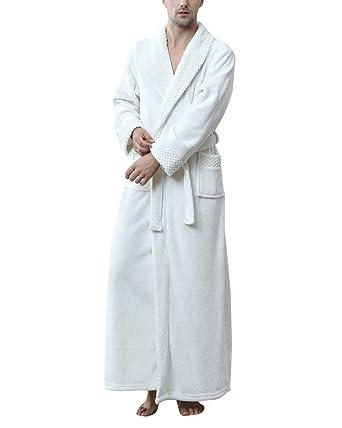 DianShaoA Mens Towelling Adults Shawl Collar Bathrobe Dressing Gown Bath  Robe Housecoat Nightwear White M  Amazon.co.uk  Clothing cbedbc3fb