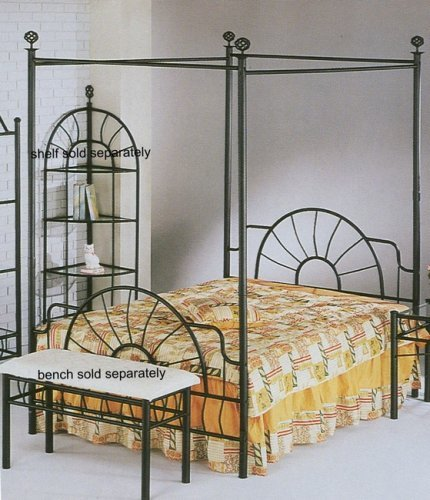 """83""""h Sunburst Queen Size Canopy Bed-headboard/footboard - Sunburst design Black matte metal finish Includes headboard, footboard, and canopy. - bedroom-furniture, bed-frames, bedroom - 51ZlklhxzQL -"""