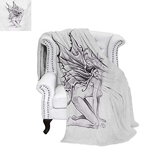 warmfamily Tattoo Summer Quilt Comforter Artistic Pencil Drawing Artwork Print Nude Fairy Opening its Angel Wings Print Digital Printing Blanket 50