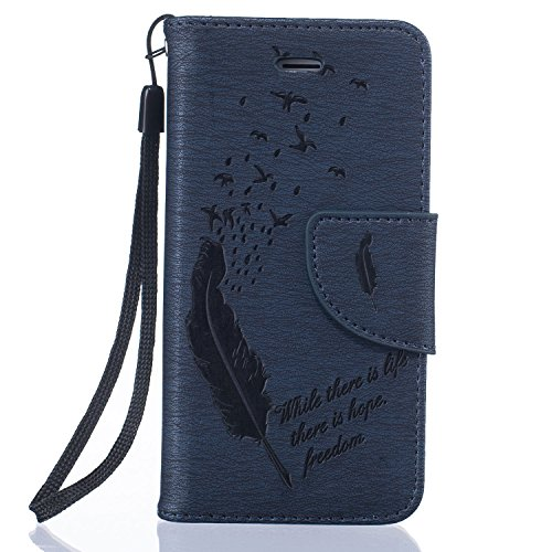 Für Apple iPhone 5 5G 5S / iPhone SE (4 Zoll) Tasche ZeWoo® Ledertasche Kunstleder Brieftasche Hülle PU Leder Schutzhülle Case Cover - BF063 / Dunkel blaue Feder
