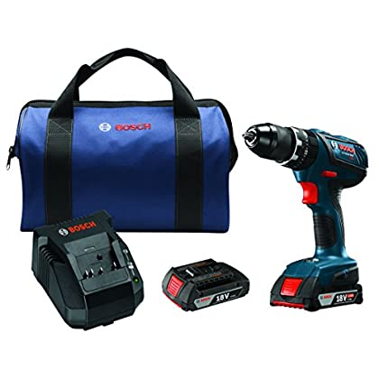 Image of Bosch HDS181A-02 18V Lithium-Ion 1/2' Compact Tough Hammer Drill/Driver Kit with SlimPack Batteries Home Improvements