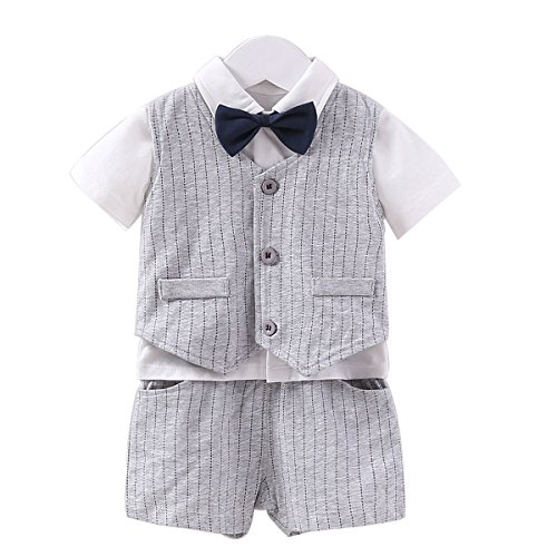 Fairy Baby Summer Baby Boy Gentleman Outfit Formal Short Sleeve Bowtie Tuxedo Dress Suit (6-9Months, Gray Stripes) ()
