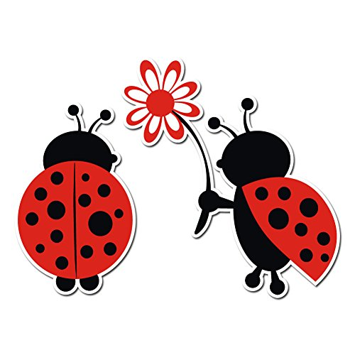 Cute Loving Ladybug Giving Flower Decal - Vinyl Decal for Indoor or Outdoor use, Cars, Laptops, Décor, Windows, and more (Lady Vinyl Decal)