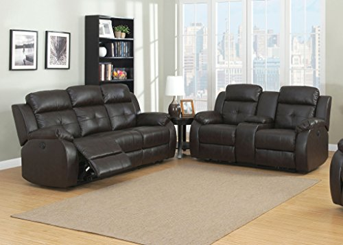 AC Pacific Troy Collection Modern 2-Piece Upholstered Leather Transitional Reclining Living Room Set with Sofa and Loveseat with Storage Console and Cup Holders, Espresso