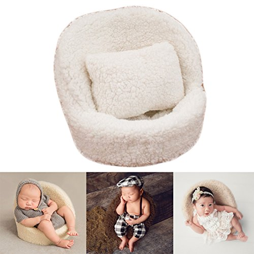 Zeroest Baby Photography Props Small Sofa Newborn Photo Shoot Posing Prop Monthly Chair Set (White) -
