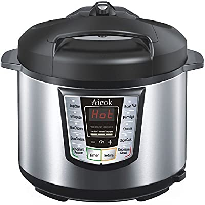 Aicok 7-in-1 Multi-Functional Programmable Electric Pressure Cooker, 6 Quart / 1000W